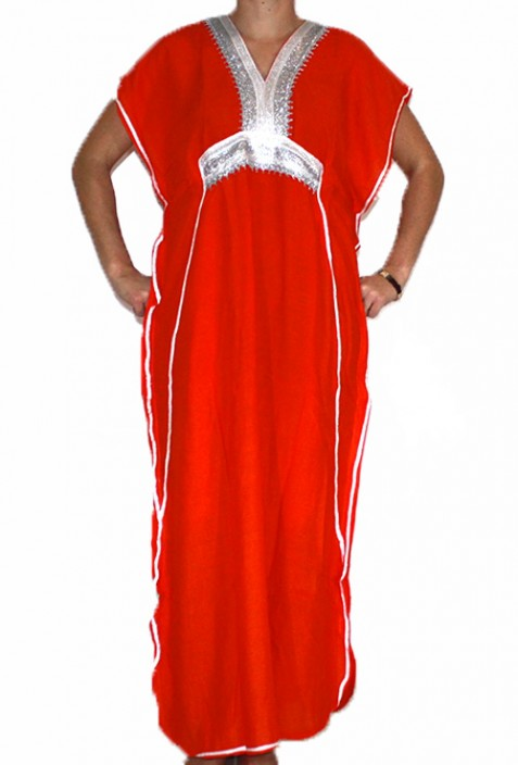 Djellaba femme rouge et argent