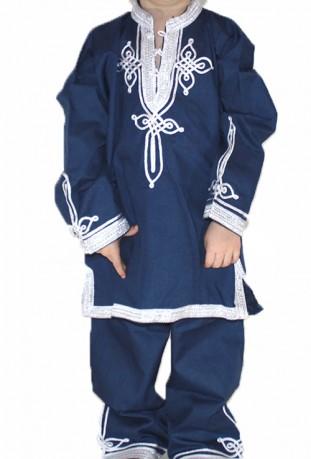 Djellaba enfant bleu foncé