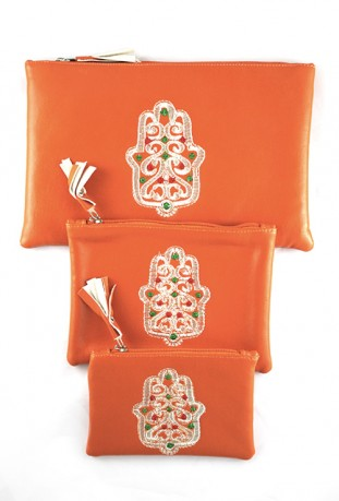 Lot de 3 pochettes orange