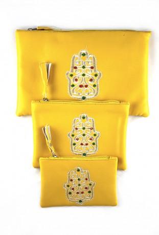 Lot de 3 pochettes jaune