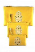 Conjunto de 3 bolsillos de color amarillo sahara