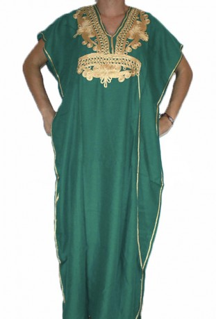 Djellaba blue and gold woman with hood