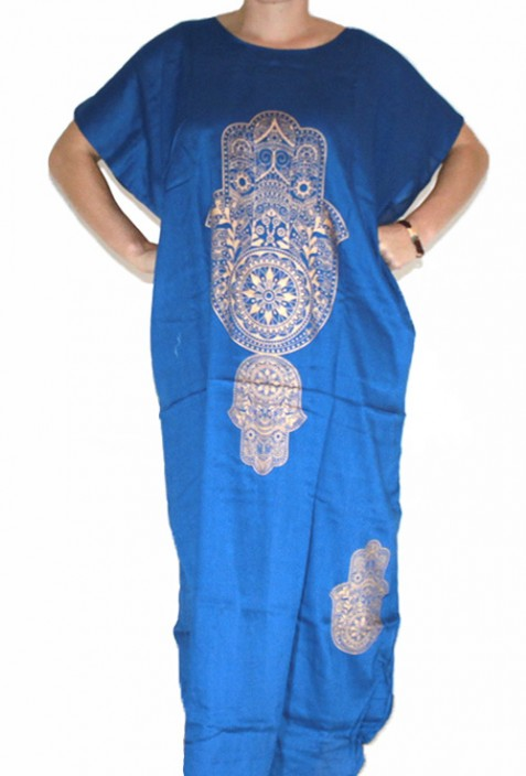 Djellaba femme blue main de fatma