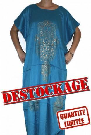 Djellaba femme bleue foncé main de fatma
