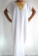 Djellaba femme blanc or