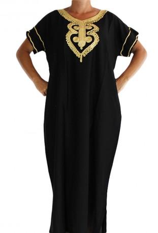 Djellaba black and gold woman Tetouan
