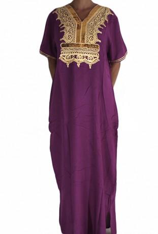 Djellaba femme violette à paillettes