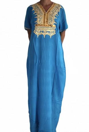 Chilaba mujer azul brillo