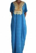 Djellaba femme bleue à paillettes