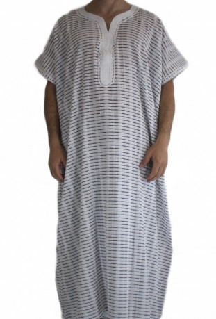 Djellaba gray striped man