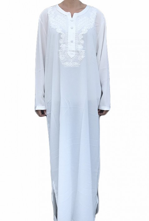 Djellaba femme blanche broderies blanches