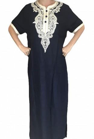 Djellaba azul mujer, bordados y brillantes
