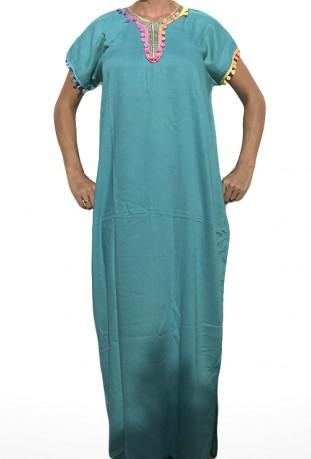 Djellaba femme bleue à pompons