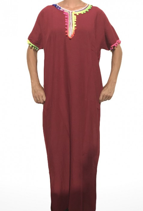 Djellaba femme rouge à pompons