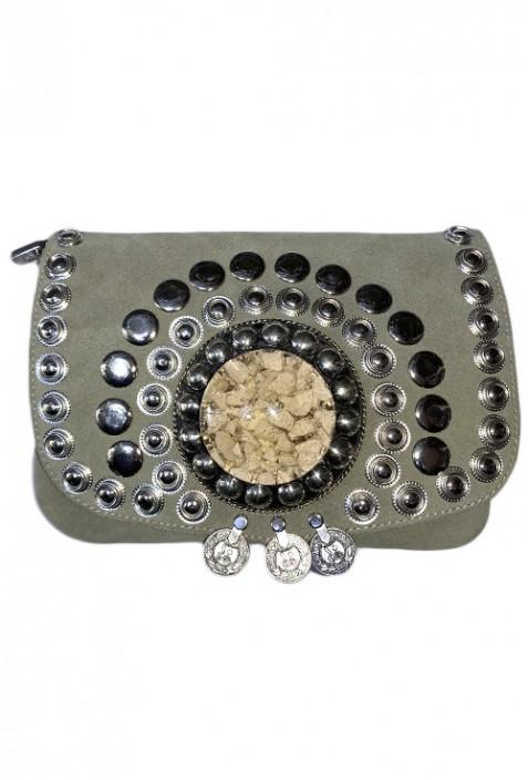 Purple suede leather handbag