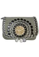 Grey suede leather handbag