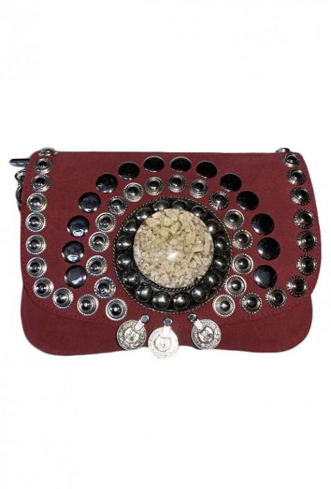 Black suede leather handbag