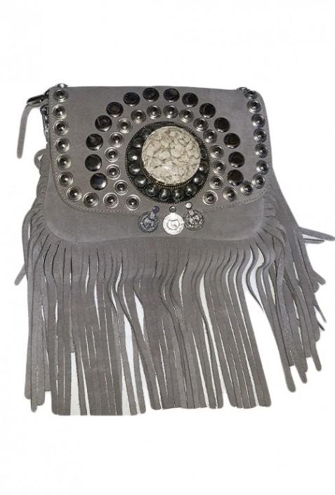 Lila Wildlederhandtasche