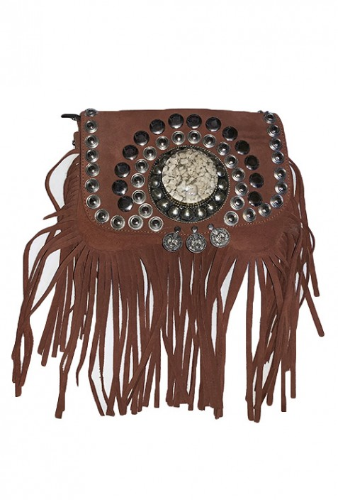 Gray suede leather handbag with fringes