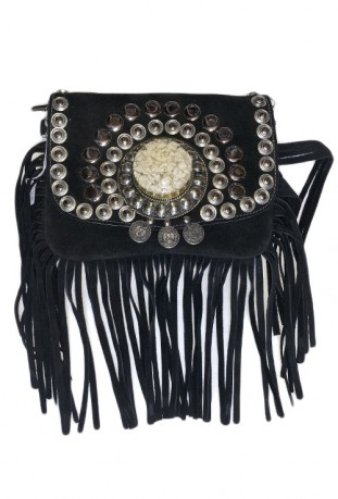 Beige suede leather handbag with fringes