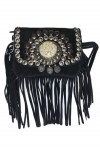 Black suede leather handbag with fringes