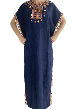 Djellaba azur blue woman with sequins 2019