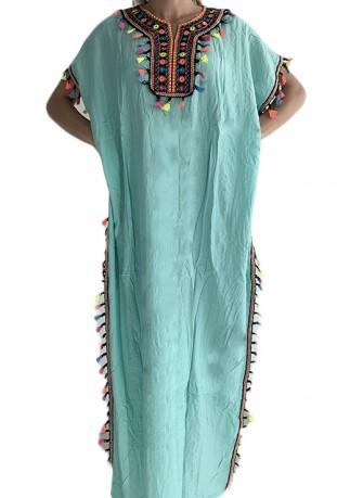 Djellaba ocean blue woman with sequins