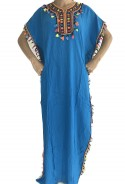 Djellaba femme bleue lumière à pompons 2019