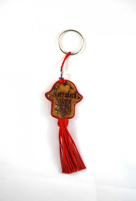 Wood key ring and red sabra thread