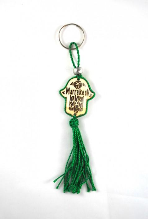 Porte clés bois et fil de sabra vert