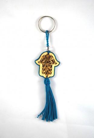 Madera y alambre llavero azul Sabra