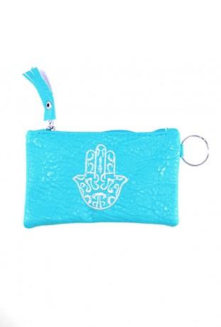 Pochette bleue main de Fatma