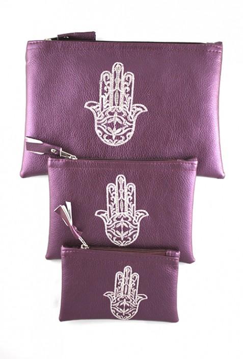 Set von 3 lila Taschen
