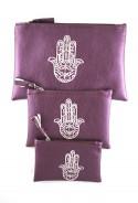 Lot de 3 pochettes violettes