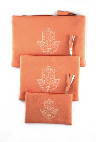 Lot de 3 pochettes rose pâle