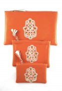 Set of 3 orange sahara pockets