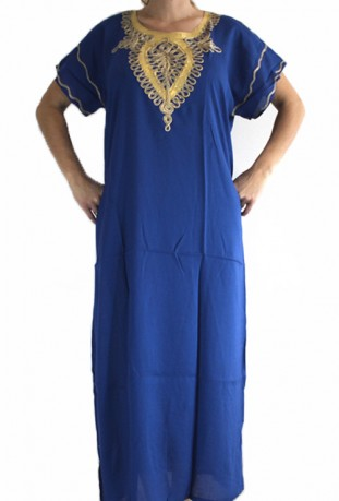 Djellaba blue woman and gold Sahara