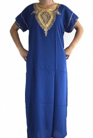 Mujer chilaba azul y oro del Sahara