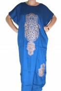 Djellaba femme bleue main de fatma