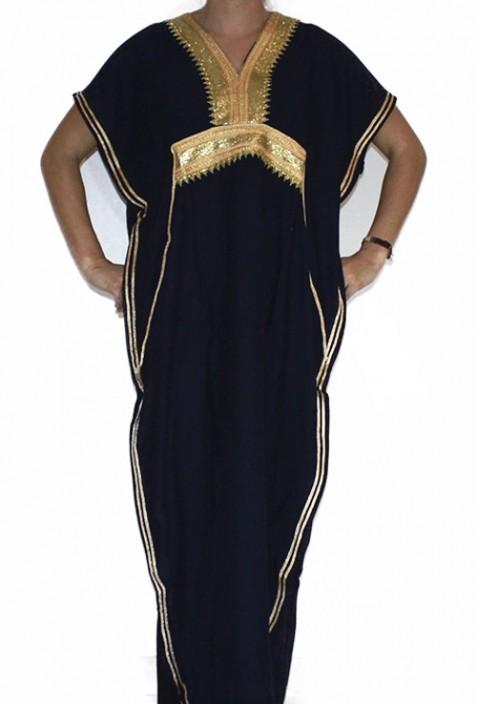 Kaftan schwarze Frau und Gold