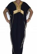 Djellaba femme noire et or