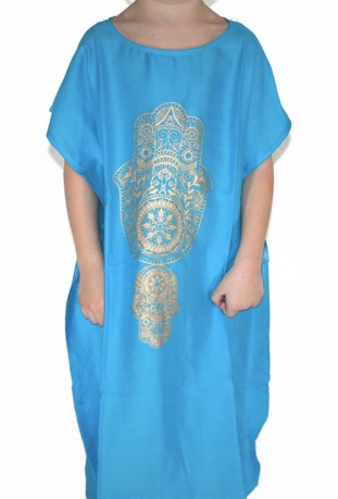 Djellaba child dark brown