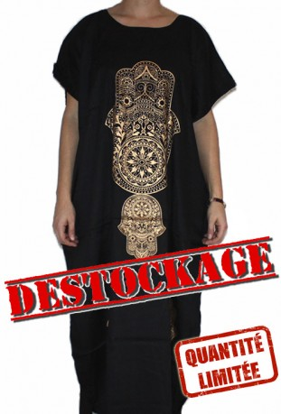 Djellaba black for woman hand of fatma