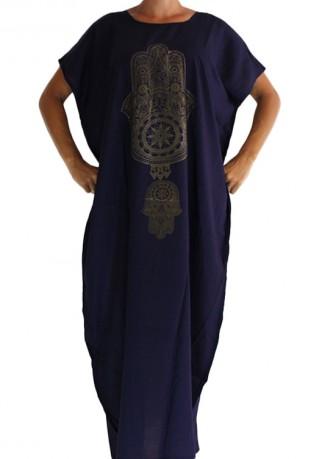 Djellaba femme bleue marine main de fatma