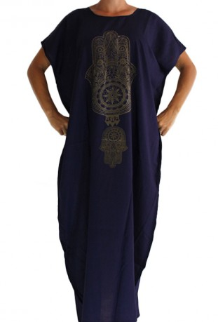 Djellaba woman dark blue hand of fatma