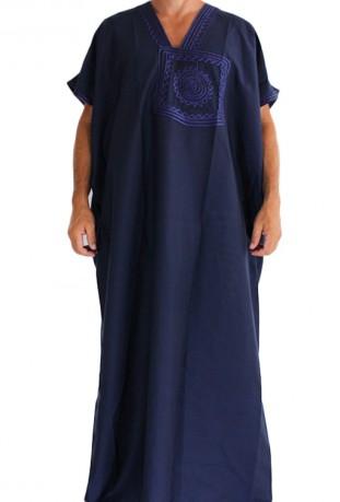 Chilaba hombre de color azul marine medina