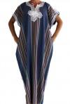 Mujer chilaba azul azur