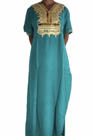 Djellaba green woman with sequins