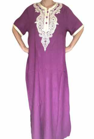 Djellaba violet woman with embroidery and brilliants