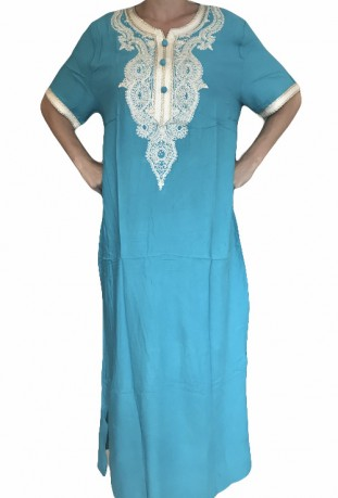 Djellaba blue sky woman with embroidery and brilliants